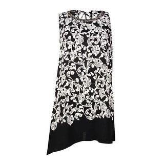 Alfani Women's Embellished Neckline Printed Crepe Top (10, Black/White) - 10