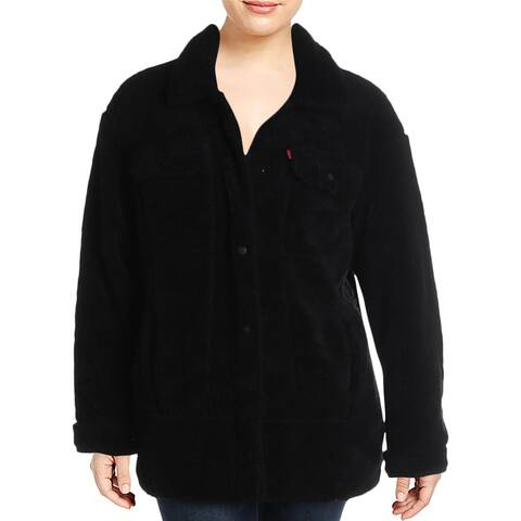 Levi Strauss & Co. Womens Plus Trucker Basic Coat Winter Faux Fur