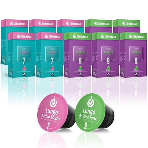 Gourmesso Lungo Bundle - 100 coffee capsules compatible with Nespresso