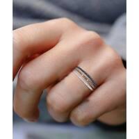 Prism Jewel 0.52Ct Multi Color Diamond 3-Row Anniversary Stackble Ring