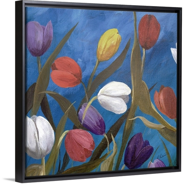 """Tulips One"" Black Float Frame Canvas Art"