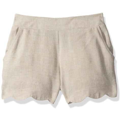 Amy Byer Girls' Big Scallop Hem Linen Short, Khaki L, Khaki, Size Large
