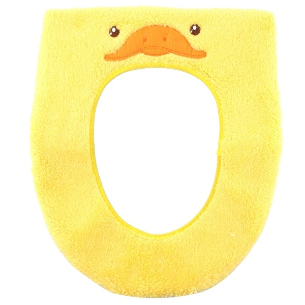 Toilet Plush Duck Pattern Oval Shaped Stool Washable Warmer Seat Cover Yellow