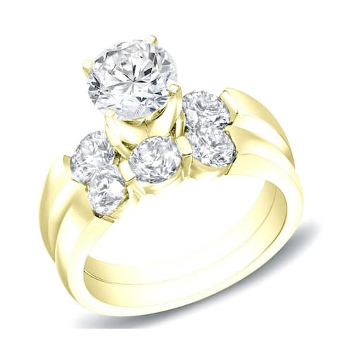 Ethical Sparkle 2 1/2ct TW 3-Stone Lab Grown Diamond Engagement Ring Set 14k Gold