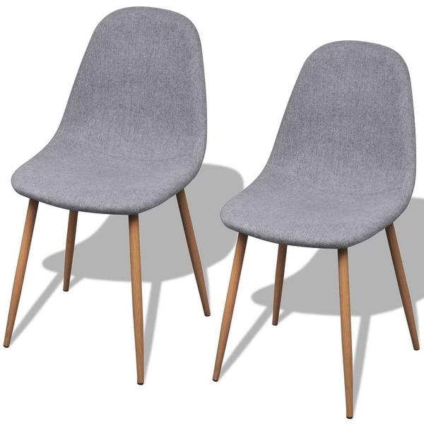 Shop VidaXL Dining Chairs 2 Pcs Fabric Light Gray