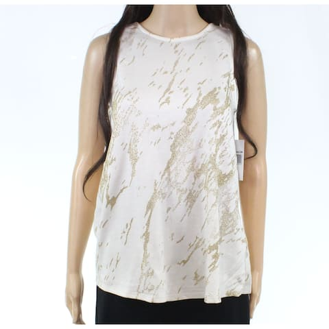 Three Dots Womens Top White Ivory Size XS Tank Shimmer Scoop Neck