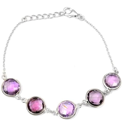 Amethyst Sterling Silver Round Chain Bracelet by Orchid Jewelry