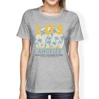 Los Angeles Beaches Summertime Womens Grey Vintage Design T-Shirt