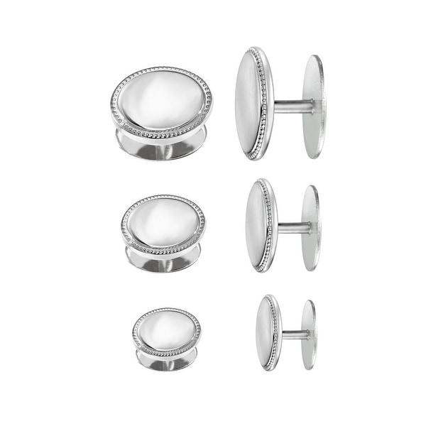 Dolan Bullock Men's Cufflinks & Stud Set in Sterling Silver - White