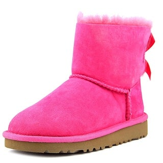 Ugg Australia T Mini Bailey Bow Youth Round Toe Suede Pink Boot