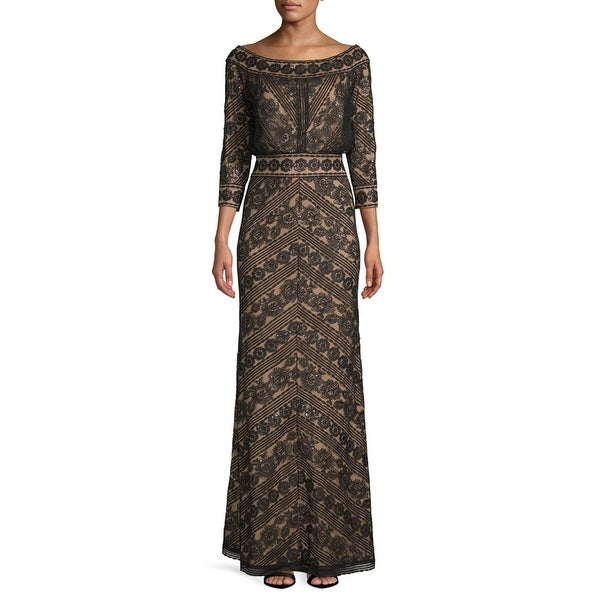 7443a2fb23b7f Tadashi Shoji Sequined Lace 3/4 Sleeve Evening Gown Dress Black/Nude