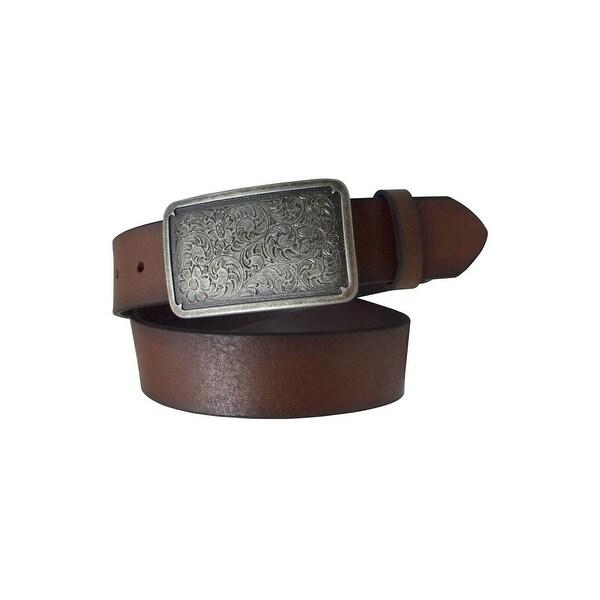 Danbury Western Belt Womens Genuine Leather Nickel Brown