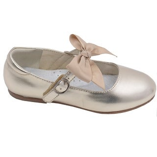 L'Amour Little Girls Gold Grosgrain Bow Flats Dress Shoes 11-4 Kids