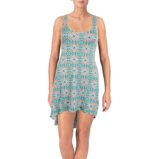 Bikini Lab Womens Someday My Prints Will Come Hi-Low Printed Dress Swim Cover-Up - S
