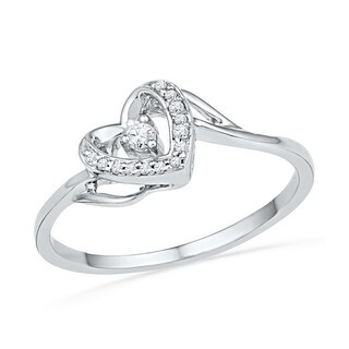 1/12Ctw Diamond Heart Ring White-Gold 10K
