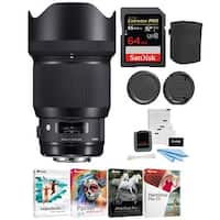 Sigma 85mm f/1.4 DG HSM Art Lens (Sony Mount) with 64GB SD Card Kit