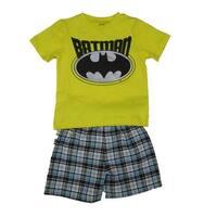 DC Comics Little Boys Yellow Batman Logo Print 2 Pc Shorts Outfit