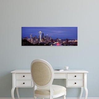 Easy Art Prints Panoramic Image 'Skyscrapers in a city, Space Needle, Seattle, King County, Washington' Canvas Art