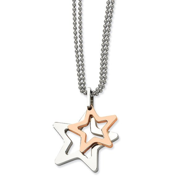 Chisel Stainless Steel IPG 24k Plating Plated Stars Pendant 22 Inch Necklace (2 mm) - 22 in