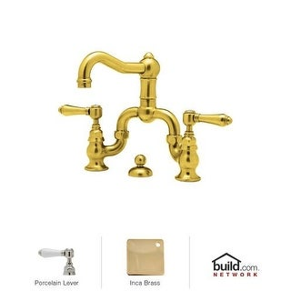 Rohl A1419LP-2 Country Bath Bridge Bathroom Faucet with Pop-Up Drain and Porcela