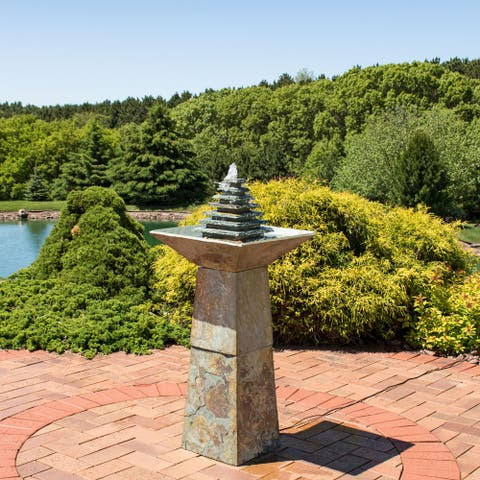 """Sunnydaze Layered Slate Pyramid Outdoor Water Fountain 40"""" Lawn Feature w/ LED"""