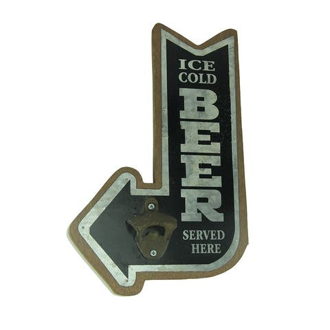 Ice Cold Beer Pointing Arrow Wall Mounted Bottle Opener - 14.5 X 9.5 X 1.75 inches