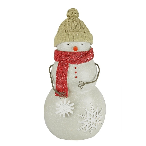 """10.5"""" Speckled Snowman with Red Scarf Decorative Christmas Table Top Figure"""