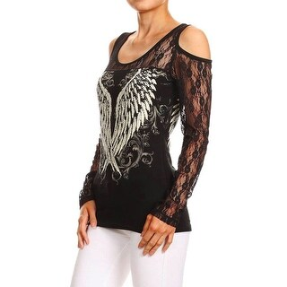 Women Plus Size Black Lace Cold Shoulders Wings Rhinestones Top Shirt