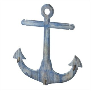 Pack of 2 Distressed Ocean Blue Wooden Anchor Decorative Wall Hook 22.5""