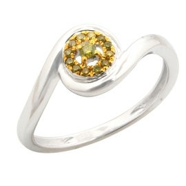 Attractive Round Brilliant Cut Yellow Color Treated Diamond Engagement Ring