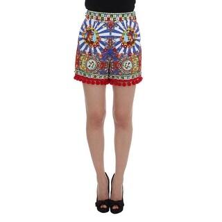 Dolce & Gabbana Dolce & Gabbana Multicolor Carretto Crystal Pom Pom Mini Shorts - it42-m