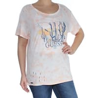 GUESS Womens Pink Printed Short Sleeve Jewel Neck T-Shirt Top  Size: L