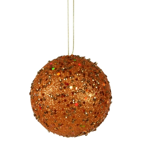 """Fancy Orange Holographic Glitter Drenched Christmas Ball Ornament 4"""" (100mm)"""