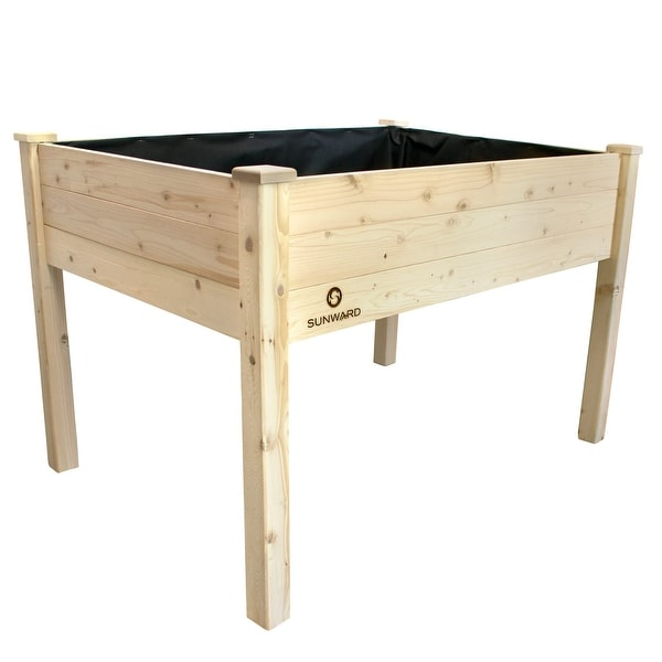 garden bed kit. Sunward Patio Raised Garden Bed Kit / Wooden Elevated Perfect For Summer Gardening 2