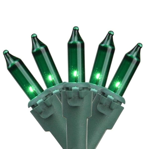 "Set of 100 Green Mini Christmas Lights 4.25"" Spacing - Green Wire"