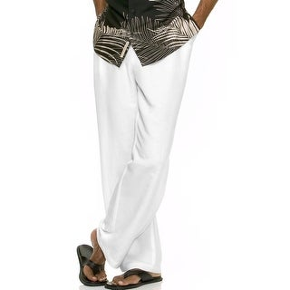 Cubavera Big and Tall Drawstring Linen Blend Pants Bright White 2XB x 30 - 42
