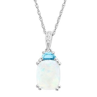 2 1/6 Natural Opal & Blue Topaz Pendant with Diamonds in Sterling Silver