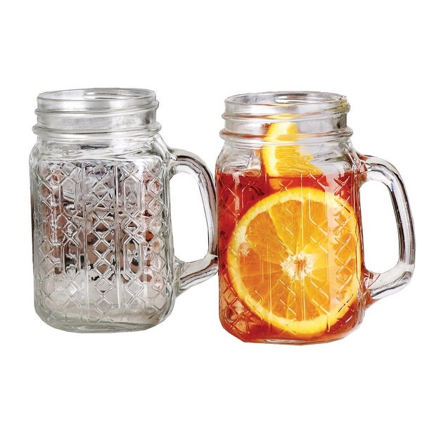 Palais Glassware Mason Jar Tumbler Mug with Handle - 17.5 Ounces - Set of 4 ('Geometric' Design)