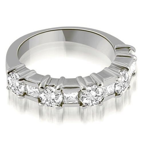 2.00 cttw. 14K White Gold Round and Princess Cut Diamond Wedding Band