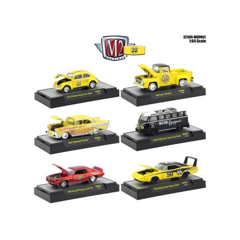 Auto Thentics Mooneyes 6 Piece Set IN DISPLAY CASES 1/64 Diecast Model Cars by M2 Machines