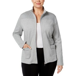 Karen Scott Womens Plus Jacket Heathered Quilted