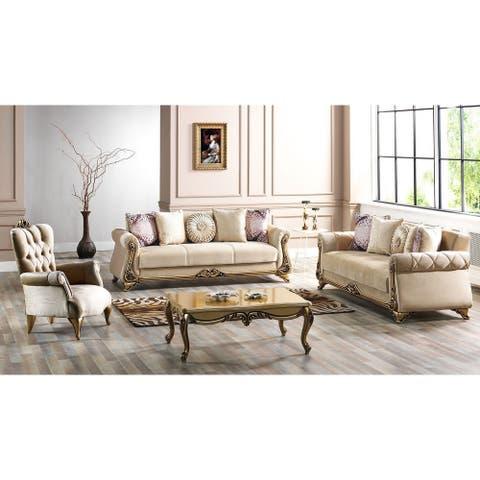 SavaHome Armoni Living Room 2 Seat Love Seat Beige