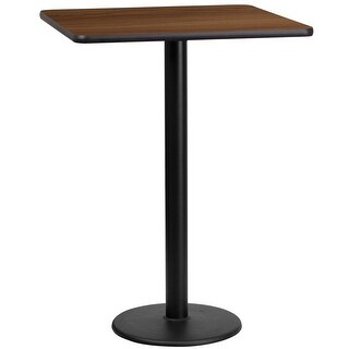 "Dyersburg 24'' Square Walnut Laminate Table Top w/42"" High Round Base"