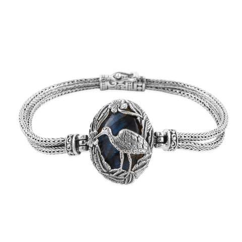 BALI LEGACY 925 Sterling Silver Oval Labradorite Bracelet Jewelry For