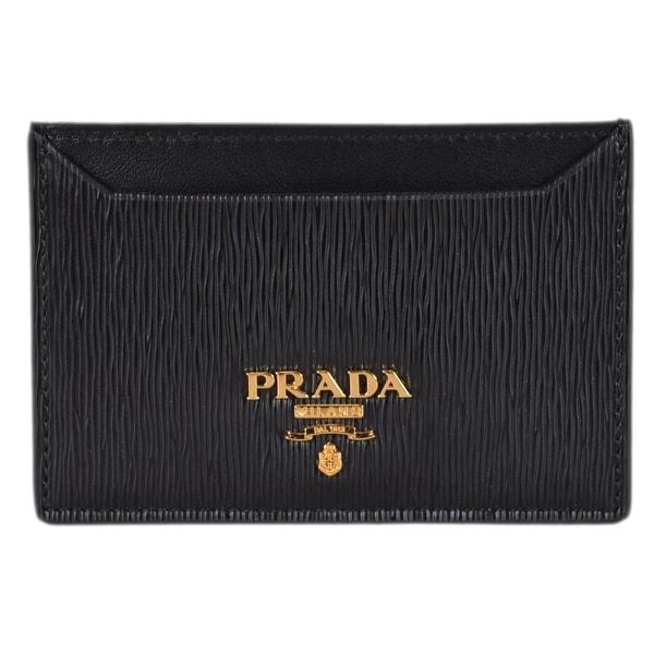 04ed973ccdb411 Prada Women's 1MC208 Black Saffiano Leather Metal Card Case ID Wallet -
