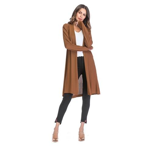 Openwork Knit Jacket Women's Solid Color Long Sleeve Cardigan Cape