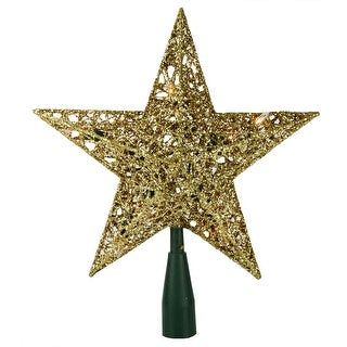"""10.5"""" Lighted Sparkling Gold Sequin Star Christmas Tree Topper - Clear Lights"""