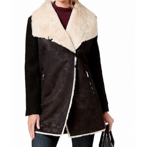 Calvin Women's Coat Black Size 1X Plus Faux Suede Fur Wool Contrast