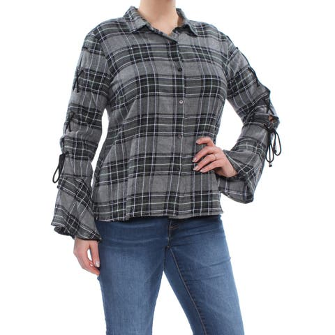 BUFFALO Womens Gray Plaid Button Dow Collared Top Size: L