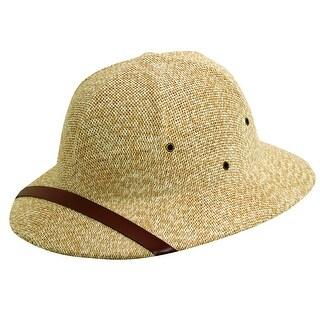 Dorfman Pacific Straw Classic Safari Pith Helmet Hat - Tan - One Size